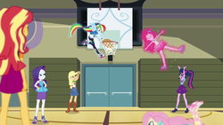 Size: 1920x1080 | Tagged: safe, screencap, applejack, fluttershy, pinkie pie, rainbow dash, rarity, sci-twi, sunset shimmer, twilight sparkle, do it for the ponygram!, equestria girls, equestria girls series, spoiler:eqg series (season 2), basket, converse, female, geode of shielding, geode of sugar bombs, geode of super strength, geode of telekinesis, gym, humane five, humane seven, humane six, levitation, magic, magical geodes, ponied up, shoes, sports, telekinesis, volleyball