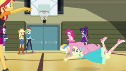 Size: 1920x1080 | Tagged: safe, screencap, applejack, fluttershy, pinkie pie, rainbow dash, rarity, sci-twi, sunset shimmer, twilight sparkle, do it for the ponygram!, equestria girls, equestria girls series, spoiler:eqg series (season 2), basket, clothes, dress, female, geode of sugar bombs, geode of super speed, geode of super strength, geode of telekinesis, gym, humane five, humane seven, humane six, magical geodes, sports, volleyball