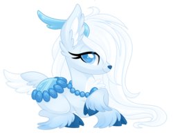 Size: 1024x813 | Tagged: safe, artist:crystal-tranquility, oc, oc:diamond eis, deer pony, original species, pond pony, female, prone, simple background, solo, transparent background