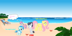 Size: 1070x537 | Tagged: safe, artist:anxet, artist:cyanlightning, artist:flutterschoer, artist:jawsandgumballfan24, artist:oshipush, artist:red4567, fluttershy, rainbow dash, rumble, sweetie belle, oc, oc:cyan lightning, crab, pegasus, pony, unicorn, beach, covering, dialogue, embarrassed, embarrassed nude exposure, humiliation, implied rumbelle, nudity, ocean, sand, smug, water, we don't normally wear clothes
