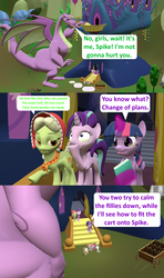 Size: 1920x3240 | Tagged: safe, artist:red4567, applejack, fluttershy, granny smith, pinkie pie, rainbow dash, rarity, spike, starlight glimmer, twilight sparkle, alicorn, dragon, comic:i must regress, 3d, 5-year-old, adult, adult spike, age progression, age regression, book, cart, comic, faint, female, filly, filly fluttershy, filly pinkie pie, filly rainbow dash, filly rarity, giant spike, horn, mane six, older, older spike, source filmmaker, spell gone wrong, spikezilla, twilight sparkle (alicorn), twilight's castle, winged spike, winged spikezilla, young granny smith, younger