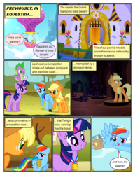 Size: 612x792 | Tagged: applejack, armor, artist:newbiespud, background pony, bound wings, castle, cloud, comic, comic:friendship is dragons, dialogue, dragon, earth pony, eclair créme, edit, edited screencap, female, fine line, flying, freckles, grin, hat, hot air balloon, jangles, looking back, looking up, male, mare, masquerade, maxie, medal, moat, orion, pegasus, pony, rainbow dash, raised hoof, riding, rope, saddle bag, safe, screencap, screencap comic, shooting star (character), smiling, spike, star gazer, statue, twilight sparkle, unicorn, unicorn twilight, wings