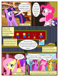 Size: 612x792   Tagged: safe, artist:newbiespud, edit, edited screencap, screencap, berry punch, berryshine, bon bon, carrot top, cherry berry, fluttershy, golden harvest, lily, lily valley, linky, pinkie pie, rainbow dash, rarity, shoeshine, sweetie drops, twilight sparkle, earth pony, pegasus, pony, unicorn, comic:friendship is dragons, the last roundup, background pony, background pony audience, book, bookcase, comic, dialogue, eyes closed, female, frown, golden oaks library, grin, mare, medal, screencap comic, smiling, unicorn twilight, worried