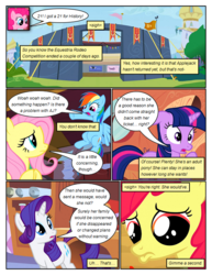 Size: 612x792 | Tagged: apple bloom, artist:newbiespud, comic, comic:friendship is dragons, dialogue, earth pony, edit, edited screencap, female, filly, fluttershy, flying, frown, mare, pegasus, pinkie pie, pony, rainbow dash, rarity, sad, safe, screencap, screencap comic, smiling, stadium, the last roundup, twilight sparkle, unicorn, unicorn twilight, worried