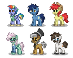 Size: 450x360 | Tagged: safe, artist:venombronypl, bow hothoof, bright mac, gentle breeze, hondo flanks, igneous rock pie, night light, pegasus, pony, unicorn, pony town, dad six, simple background