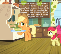 Size: 1008x896 | Tagged: safe, edit, edited screencap, screencap, apple bloom, applejack, growing up is hard to do, spoiler:s09e22, apple, apple pie, applejack's hat, bow, bowl, cowboy hat, cropped, food, full name, hat, implied scootaloo, implied sweetie belle, implied twilight sparkle, mane bow, pie, something wicked this way comes, speech, sweet apple acres