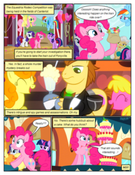 Size: 612x792 | Tagged: artist:newbiespud, background pony, bag, balloon, barn, bowtie, cake, candy, carrot top, cherry berry, clothes, comic, comic:friendship is dragons, dialogue, donut joe, earth pony, edited screencap, eyes closed, female, fluttershy, flying, food, golden harvest, grin, hoof hold, male, mare, mayor mare, milkshake, pegasus, pinkie pie, pitchfork, pony, rainbow dash, raised hoof, rarity, saddle bag, safe, salute, screencap, screencap comic, smiling, stallion, suit, the last roundup, twilight sparkle, unicorn, unicorn twilight, unshorn fetlocks