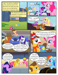 Size: 612x792 | Tagged: angry, annoyed, applejack, artist:newbiespud, background pony, barrel, broom, caramel, carrot top, cherry berry, clown, comic, comic:friendship is dragons, dialogue, earth pony, edit, edited screencap, eyes closed, female, fluttershy, frown, glowing horn, golden harvest, hat, helmet, hoof hold, horn, horned helmet, magic, male, mane six, mare, meadow song, mouth hold, necktie, on back, pegasus, photo, pinkie pie, pony, rainbow dash, rarity, safe, screencap, screencap comic, stadium, stallion, telekinesis, the last roundup, twilight sparkle, unicorn, unicorn twilight, viking helmet, wildwood flower