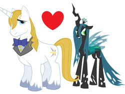 Size: 2920x2192 | Tagged: bluesalis, changeling, changeling queen, crack shipping, female, male, prince blueblood, queen chrysalis, safe, shipping, shipping domino, stallion, straight, unshorn fetlocks