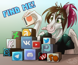 Size: 1200x1000 | Tagged: advertisement, anthro, artist:sunny way, cube, female, horse, link in description, mare, oc, oc:sunny way, patreon, patreon logo, pegasus, rcf community, safe, smiling, solo, tongue out, website