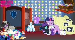 Size: 11000x6000 | Tagged: absurd res, accessories, adopted, adopted daughter, adopted offspring, alicorn, alicorn oc, artist:evilfrenzy, baby bottle, baby food, baby powder, baby wipes, ballerina, banana, bars, bed, bedroom, bedsheets, blanket, bonnet, bottle feeding, box, building blocks, button, cans, chest, cloth diaper, clothes, crib, cupboard, cutie mark, daughter, diaper, diaper bag, diaper fetish, dj pon-3, doll, dress, drinking, earth pony, eating, evil, evil grin, family, feeding, female, fetish, filly, foal, foal bottle, foaldom, foaling, foal powder, food, forced, force feeding, fruit, glasses, grin, hand behind head, held up, indoors, laxative, laying on floor, letter, lidded eyes, lying down, mare, milk, mittens, moon, mother, mother and daughter, name, nostrils, nursery, oc, oc:nyx, octavia melody, offspring, pacifier, panties, parent, parent and child, parent and foal, parent:twilight sparkle, pegasus, pillow, plastic, plastic bag, plushie, pony, poofy diaper, princess, princess luna, rainbow dash, royalty, sad, safe, shelf, shield, shirt, sitting, smiling, stars, suckling, suit, sunglasses, text, top, toy, twilight sparkle, twilight sparkle (alicorn), underwear, unicorn, uniform, vinyl scratch, wall of tags, wallpaper, xk-class end-of-the-world scenario