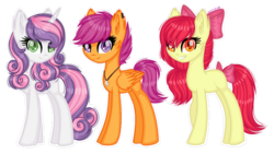 Size: 1280x721 | Tagged: apple bloom, artist:fantarianna, cutie mark crusaders, earth pony, female, mare, missing cutie mark, older, older apple bloom, older scootaloo, older sweetie belle, pegasus, pony, safe, scootaloo, simple background, sweetie belle, transparent background, trio, unicorn
