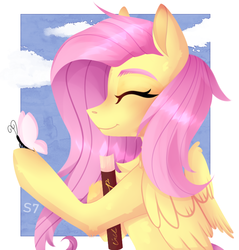 Size: 733x766 | Tagged: artist:linbrine, book, bust, butterfly, chest fluff, cute, eyes closed, female, fluttershy, folded wings, holding, mare, pegasus, pony, profile, safe, shyabetes, sky, smiling, solo, wings