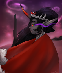 Size: 1820x2128 | Tagged: artist:lastaimin, cloak, clothes, curved horn, elf ears, horn, horned humanization, human, humanized, king sombra, safe, solo, sombra eyes