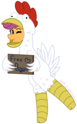 Size: 1497x2405 | Tagged: animal costume, artist:midnightamber, chicken suit, clothes, commission, costume, cute, cutealoo, feather, female, filly, free boops, holding sign, on back legs, one eye closed, pegasus, pony, safe, scootachicken, scootaloo, sign, silly, silly pony, simple background, solo, standing, standing on one leg, standing up, tongue out, transparent background, wink