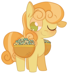 Size: 500x538 | Tagged: safe, artist:pinkiespresent, junebug, earth pony, pony, background pony, basket, cute, ear down, female, flower, junebetes, mare, no pupils, one eye closed, saddle basket, simple background, solo, transparent background