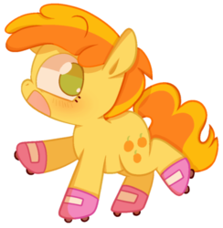 Size: 500x513 | Tagged: safe, artist:pinkiespresent, peachy pie, earth pony, pony, the show stoppers, cute, female, filly, no pupils, open mouth, profile, roller skates, simple background, solo, transparent background