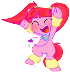 Size: 500x526 | Tagged: artist:pinkiespresent, bipedal, blushing, cute, earth pony, eyes closed, female, glowbetes, happy, leg warmers, mare, open mouth, pacific glow, pacifier, pigtails, pony, safe, simple background, solo, transparent background, weapons-grade cute