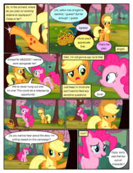 Size: 612x792 | Tagged: safe, artist:newbiespud, edit, edited screencap, screencap, applejack, pinkie pie, pony, comic:friendship is dragons, the last roundup, annoyed, basket, bucking, cherry, comic, dialogue, female, food, freckles, frown, hat, implied fluttershy, implied rainbow dash, implied rarity, implied twilight sparkle, mare, raised hoof, screencap comic, shaking, smiling, tree
