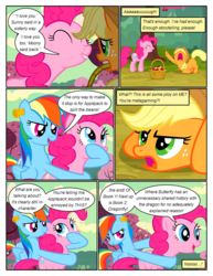 Size: 612x792 | Tagged: safe, artist:newbiespud, edit, edited screencap, screencap, applejack, pinkie pie, rainbow dash, earth pony, pegasus, pony, comic:friendship is dragons, the last roundup, angry, annoyed, basket, cherry, comic, dialogue, ear plugs, eyes closed, female, food, freckles, grin, hat, hoof in mouth, looking up, mare, mouth hold, open mouth, raised hoof, screencap comic, smiling, tree