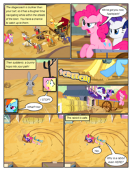 Size: 612x792   Tagged: safe, artist:newbiespud, edit, edited screencap, screencap, applejack, belle star, caboose, dinky hooves, evening star, fluttershy, full steam, john bull, pinkie pie, promontory, rainbow dash, rarity, twilight sparkle, earth pony, pegasus, pony, rabbit, unicorn, comic:friendship is dragons, the last roundup, angry, animal, background pony, blank flank, building, carriage, comic, cowboy hat, desert, dialogue, eyes closed, female, filly, foal, gritted teeth, hat, hay bale, hooves, horn, male, mane six, mare, onomatopoeia, open mouth, running, saddle bag, screencap comic, shocked, stallion, stetson, top hat, unicorn twilight, unshorn fetlocks