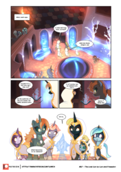 Size: 3541x5016 | Tagged: artist:freeedon, artist:lummh, cloak, clothes, collaboration, comic, comic:the lost sun, dragon, hologram, oc, patreon, patreon logo, pony, safe, unicorn