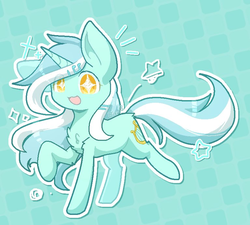 Size: 768x692 | Tagged: artist:jisuppe, chest fluff, chibi, cute, female, lyrabetes, lyra heartstrings, mare, open mouth, pony, safe, solo, starry eyes, stars, unicorn, watermark, wingding eyes