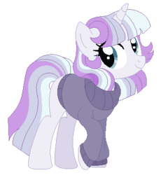 Size: 348x378 | Tagged: safe, artist:rosebuddity, oc, oc only, pony, unicorn, base used, clothes, female, magical lesbian spawn, mare, offspring, parent:rarity, parent:twilight sparkle, parents:rarilight, simple background, solo, sweater, transparent background
