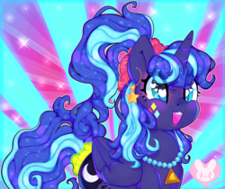 Size: 5803x4880 | Tagged: safe, artist:bunxl, princess luna, pony, between dark and dawn, spoiler:s09e13, 80s princess luna, absurd resolution, colorful, cute, eye clipping through hair, female, lunabetes, smiling, solo, weapons-grade cute