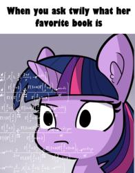 Size: 1501x1910 | Tagged: safe, artist:tjpones, edit, twilight sparkle, pony, book, bookhorse, bust, ear fluff, math, math lady meme, meme, portrait, purple smart, solo, that pony sure does love books
