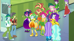 Size: 1280x720 | Tagged: animation error, aqua blossom, background human, canterlot high, captain planet, clothes, dress, equestria girls, equestria girls series, female, fluttershy, hallway, hands in pockets, holidays unwrapped, humane five, humane seven, humane six, indigo wreath, lockers, male, paisley, pants, pinkie pie, plusplus, rainbow dash, rainbow dash always dresses in style, rarity, safe, sandalwood, sci-twi, screencap, shoes, sneakers, spoiler:eqg series (season 2), starlight, sunset shimmer, twilight sparkle