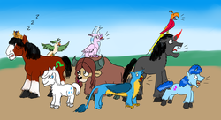 Size: 2200x1200 | Tagged: artist:horsesplease, barking, capper dapperpaws, captain celaeno, cat, cloven hooves, clydesdale, crowing, doggie favor, double diamond, farm, female, gallus, gallus the rooster, horse, king sombra, male, my little pony: the movie, onomatopoeia, parrot, party favor, philomena, phoenix, pony, safe, screaming, silverstream, silverstream the hen, sleeping, snoring, sombra dog, sound effects, stallion, trouble shoes, unshorn fetlocks, yak, yona, zzz