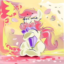 Size: 2000x2000 | Tagged: artist:dimfann, bouquet, earth pony, eyes closed, female, flower, happy, mare, pony, rose, roseluck, safe, sitting, smiling, solo