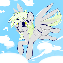 Size: 2000x2000 | Tagged: artist:dimfann, cloud, derpy hooves, flying, pegasus, pony, safe, smiling, solo