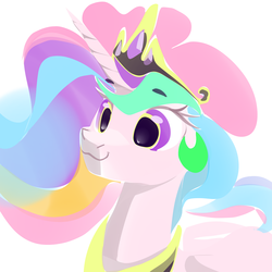 Size: 2000x2000 | Tagged: alicorn, artist:dimfann, bust, pony, portrait, princess celestia, safe, simple background, solo, white background