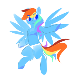Size: 2000x2000 | Tagged: artist:dimfann, pegasus, pony, rainbow dash, safe, simple background, solo, white background