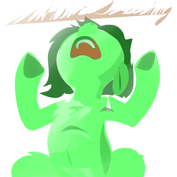 Size: 2000x2000 | Tagged: armpits, artist:dimfann, autistic screeching, earth pony, female, filly, nose in the air, oc, oc:filly anon, pony, safe, screeching, solo, underhoof