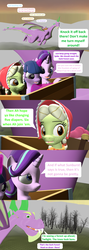 Size: 1920x5400 | Tagged: safe, artist:red4567, applejack, fluttershy, granny smith, pinkie pie, rainbow dash, rarity, spike, starlight glimmer, twilight sparkle, alicorn, dragon, comic:i must regress, 3d, adult, adult spike, age progression, age regression, book, cart, comic, female, filly, filly fluttershy, filly pinkie pie, filly rainbow dash, filly rarity, flying, forest, giant spike, horn, mane six, older, older spike, source filmmaker, spell gone wrong, spikezilla, twilight sparkle (alicorn), winged spike, winged spikezilla, young granny smith, younger