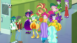 Size: 1280x720 | Tagged: aqua blossom, background human, canterlot high, captain planet, clothes, converse, cornucopia costumes, dress, equestria girls, equestria girls series, female, fluttershy, glasses, hands in pockets, holidays unwrapped, humane five, humane seven, humane six, indigo wreath, inflatable, inflatable dress, lockers, male, paisley, pants, pinkie pie, plusplus, rainbow dash, rarity, safe, sandalwood, sci-twi, screencap, shoes, sneakers, spoiler:eqg series (season 2), starlight, sunset shimmer, twilight sparkle