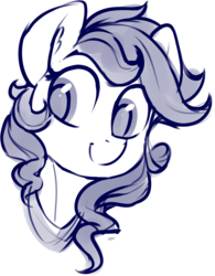 Size: 1064x1362 | Tagged: artist:dimfann, bust, female, mare, monochrome, oc, pony, portrait, safe, simple background, sketch, smiling, solo, three quarter view, white background