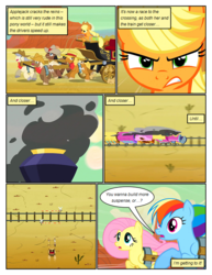 Size: 612x792 | Tagged: applejack, artist:newbiespud, background pony, carriage, comic, comic:friendship is dragons, cowboy hat, desert, dialogue, earth pony, edit, edited screencap, female, fluttershy, gritted teeth, harness, hat, male, mare, pegasus, pony, rainbow dash, running, safe, screencap, screencap comic, sitting, smoke, stallion, stetson, tack, the last roundup, train, train tracks, unshorn fetlocks, worried