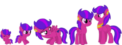 Size: 4096x1500 | Tagged: adult, age progression, artist:turnaboutart, baby, baby pony, ear piercing, earring, female, filly, foal, jewelry, mare, necklace, oc, oc only, oc:steadfast sapphire, offspring, parent:diamond tiara, parent:scootaloo, parent:skaterloo, parents:scootiara, parents:skatiara, pegasus, piercing, pony, safe, simple background, teenager, transparent background