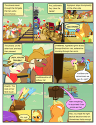 Size: 612x792 | Tagged: angry, annoyed, applejack, artist:newbiespud, background pony, carriage, comic, comic:friendship is dragons, cowboy hat, desert, dialogue, earth pony, edit, edited screencap, eyes closed, female, floppy ears, fluttershy, flying, freckles, frown, gritted teeth, harness, hat, hooves, horn, looking up, male, mare, open mouth, pegasus, pony, rainbow dash, raised hoof, running, safe, screencap, screencap comic, smiling, stallion, stetson, tack, the last roundup, train, train tracks, twilight sparkle, unicorn, unicorn twilight, unshorn fetlocks, wings, yeehaw