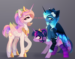 Size: 4344x3428 | Tagged: alicorn, alternate hairstyle, artist:magnaluna, chest fluff, clothes, crown, cute, ear fluff, eye contact, female, flower, flower in hair, height difference, jewelry, looking at each other, mare, peytral, ponies riding ponies, pony, princess celestia, princess luna, profile, regalia, royal sisters, safe, scrunchy face, smiling, socks, stare, striped socks, trio, twilight sparkle, twilight sparkle (alicorn), unshorn fetlocks