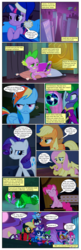 Size: 650x2000 | Tagged: alicorn, annoyed, applejack, artist:newbiespud, bound, comic, comic book, comic:friendship is dragons, dialogue, dragon, earth pony, edited screencap, eyes closed, female, fili-second, fluttershy, freckles, full moon, hat, humdrum, insanity, male, mane-iac, mane seven, mane six, mare, masked matter-horn, mistress marevelous, moon, orb, pegasus, pinkie pie, pony, power ponies, prehensile mane, radiance, rainbow dash, raised hoof, rarity, reading, saddle rager, safe, screencap, screencap comic, sitting, sleeping cap, slit eyes, smiling, spike, twilight sparkle, twilight sparkle (alicorn), unamused, unicorn, unicorn twilight, zapp