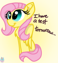 Size: 893x961 | Tagged: artist:rainbow eevee, female, fluttershy, missing cutie mark, pegasus, safe, simple background, smiling, solo, yellow background