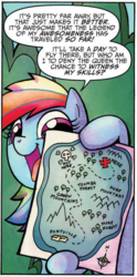 Size: 386x780 | Tagged: safe, artist:agnesgarbowska, idw, rainbow dash, pony, friends forever, spoiler:comic, spoiler:comicff6, dimondia, female, green mountains, hoof hold, map, mare, official comic, ponyville, solo, speech bubble