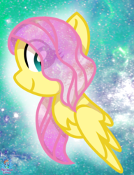 Size: 674x878 | Tagged: alternate hairstyle, artist:rainbow eevee, beautiful, chest fluff, ethereal mane, eye clipping through hair, female, fluttershy, galaxy, galaxy mane, safe, short hair, solo, stars