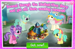 Size: 1036x684 | Tagged: safe, barley barrel, mrs. hoofington, petunia petals, rainbow trout (character), earth pony, pegasus, pony, unicorn, advertisement, gameloft, limited-time story, official