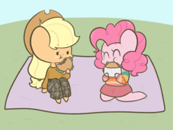 Size: 1280x965 | Tagged: safe, artist:typhwosion, applejack, pinkie pie, 80s, applepie, burger, chibi, cute, date, diapinkes, eating, female, food, hamburger, jackabetes, lesbian, picnic, romantic, shipping